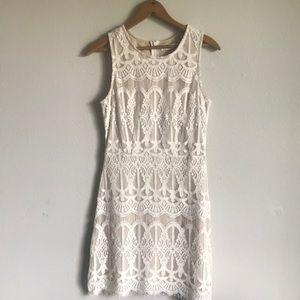 Blu pepper summer nude lace mini dress
